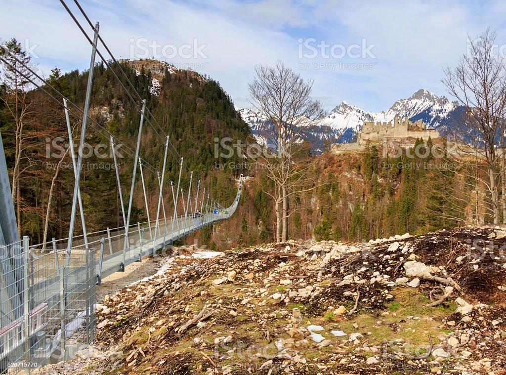 The pedestrian suspension bridge called Highline 179 in Reutte, Austria stock photo