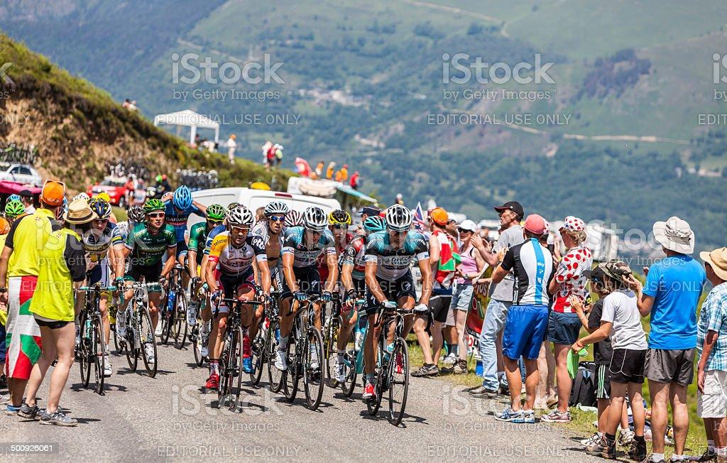 The Peloton in Pyrenees Mountains stock photo