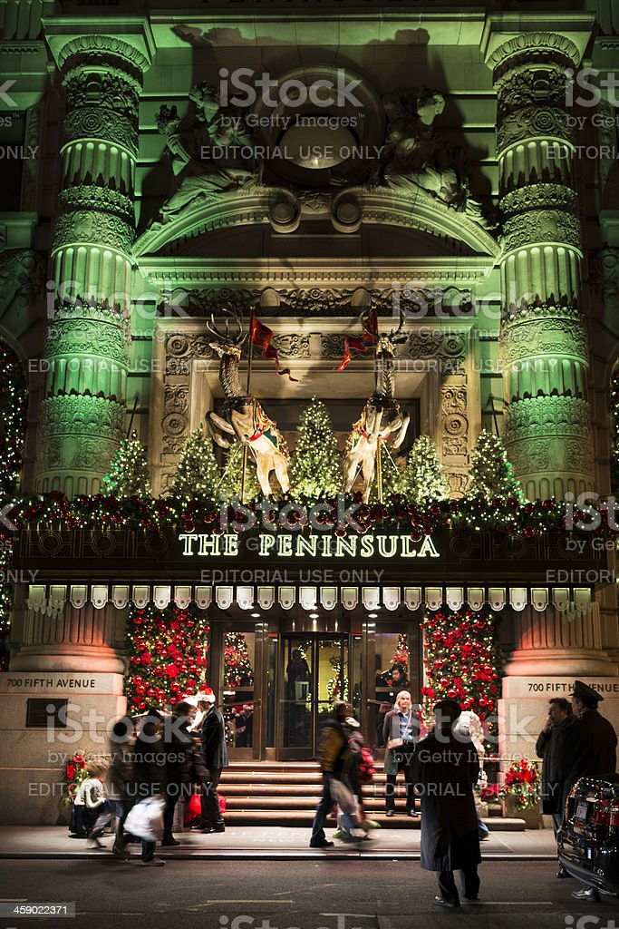 The Peninsula New York at Christmas Time stock photo