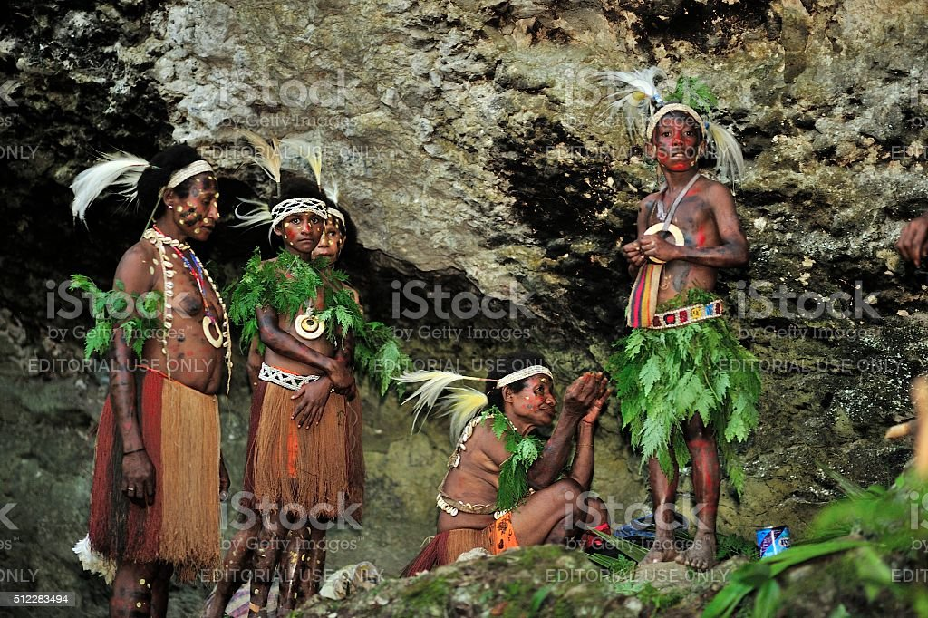 The people of The Papuan Yafi tribe stock photo