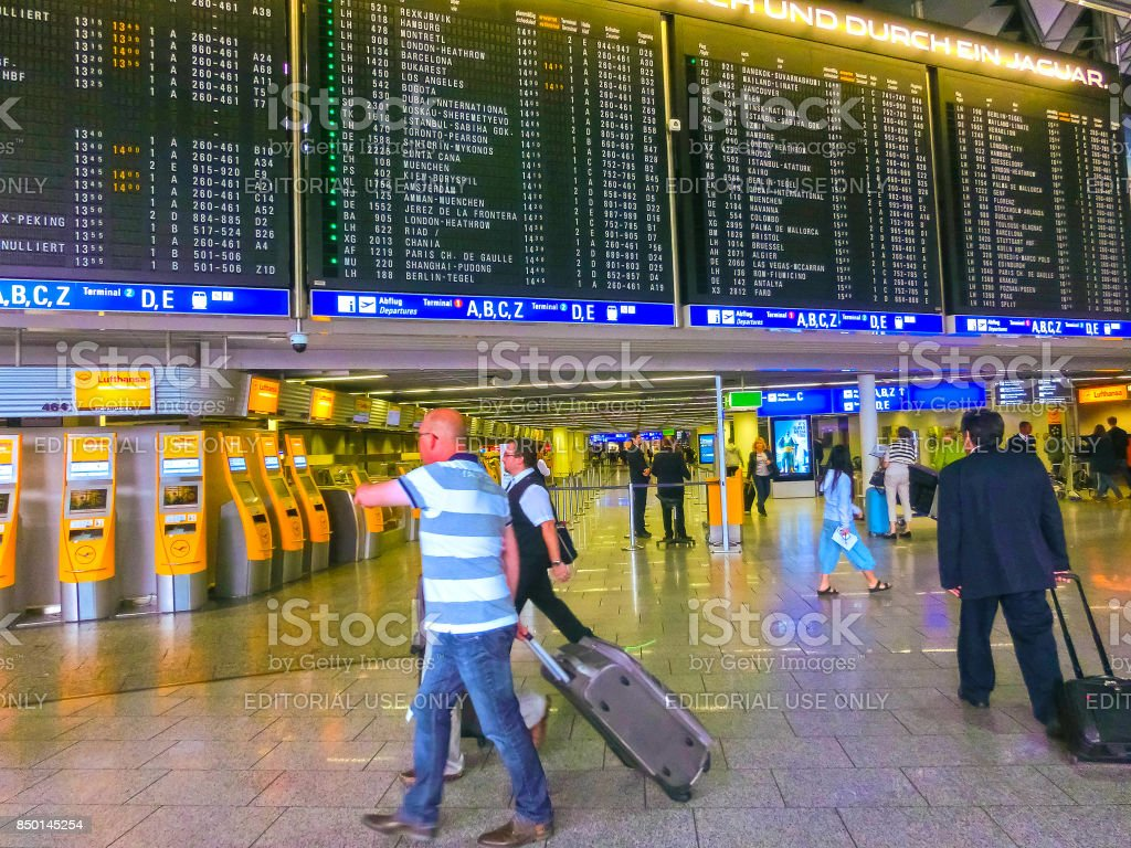 Frankfurt am Mine, Germany - June 15, 2016: The people traveling in Airport. stock photo