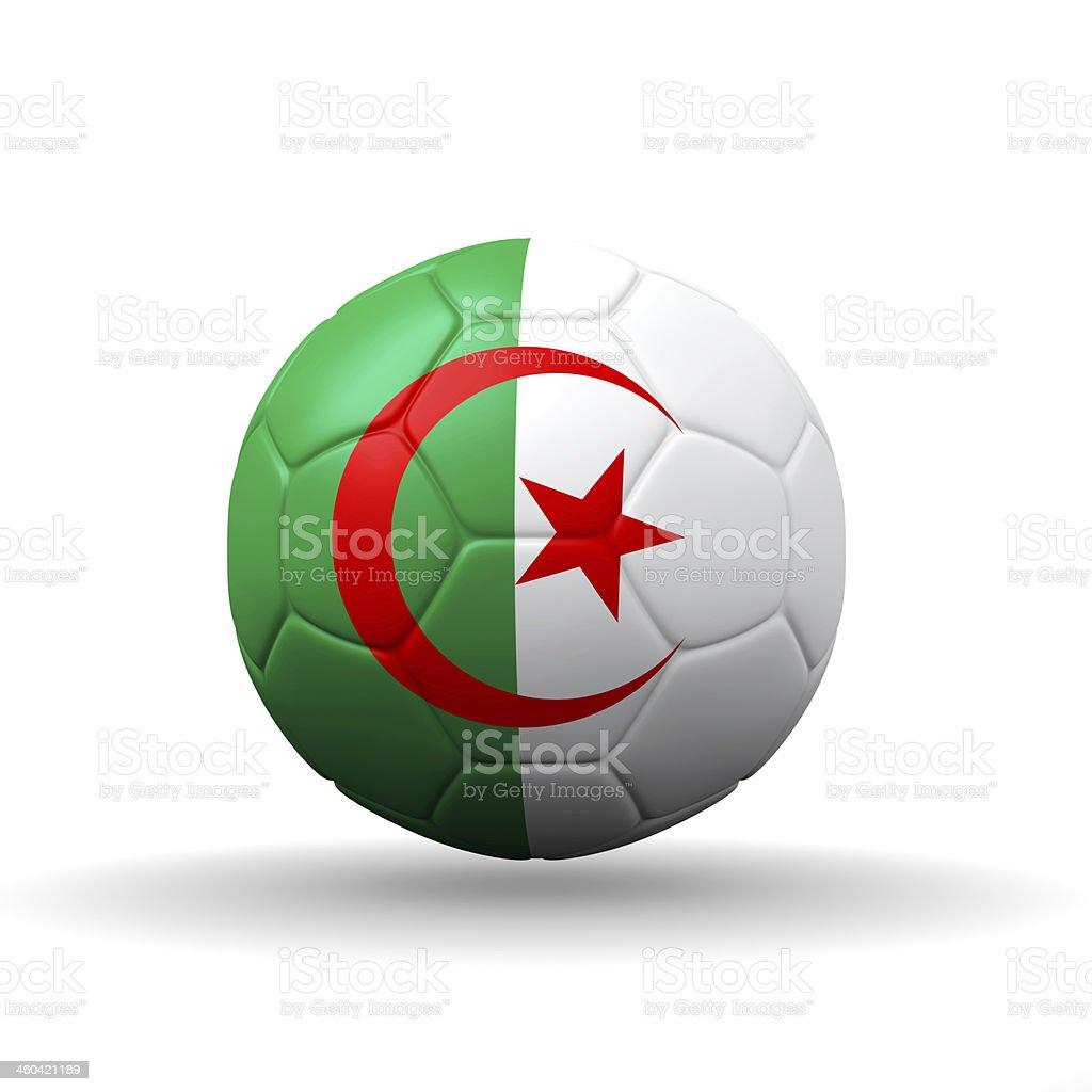 The People's Democratic Republic of Algeria flag on soccer ball stock photo