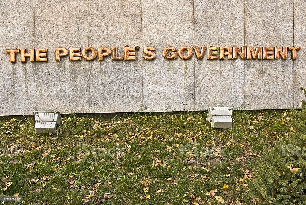 The People's Government Brass Sign royalty-free stock photo