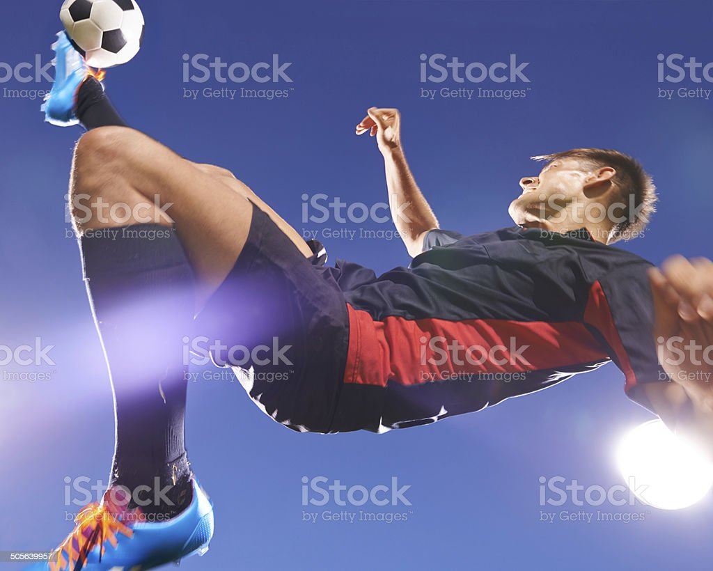 The perfect bicycle kick stock photo