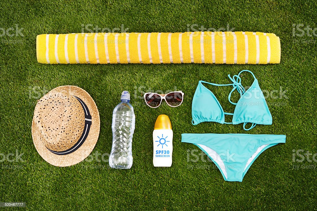 The perfect outfit for a beach-going woman stock photo