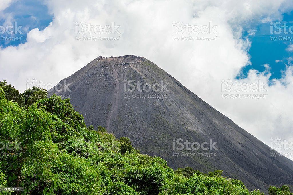 The perfect peak of the active Izalco volcano, El Salvador stock photo