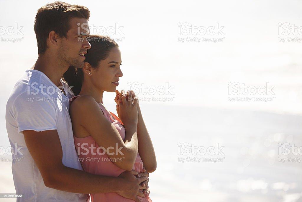 The perfect seaside love stock photo