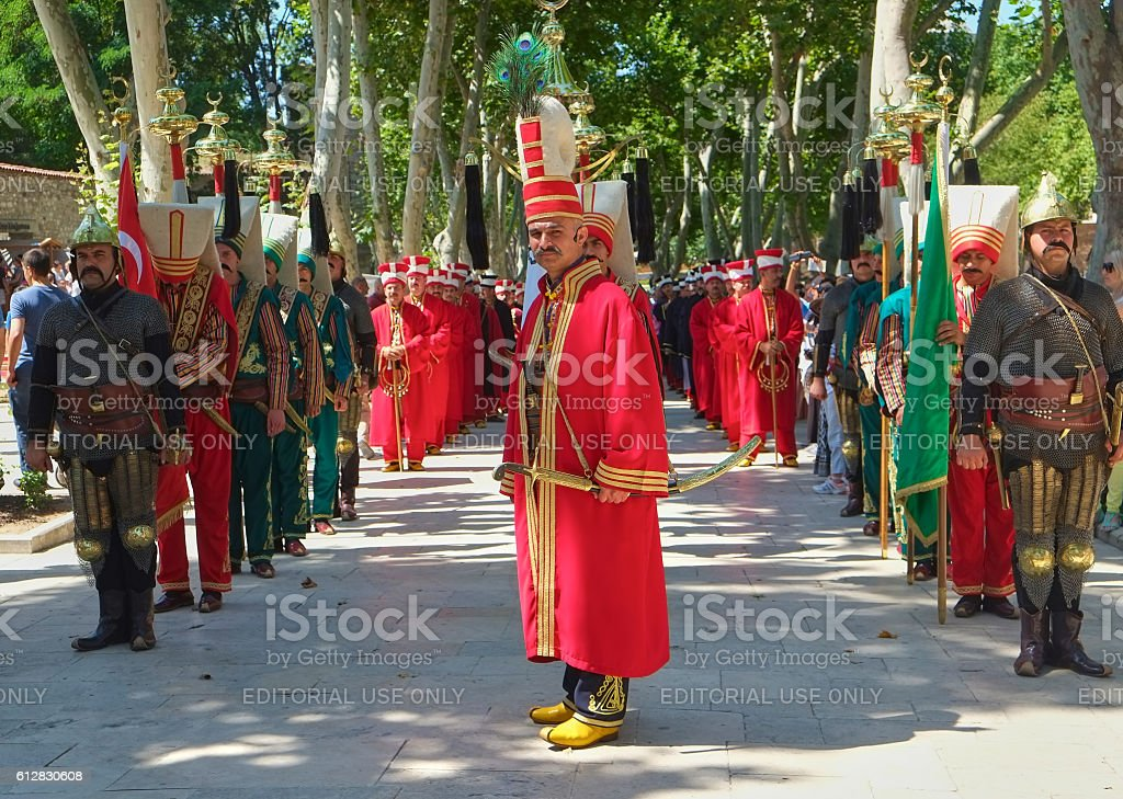 The performance of the Janyssar orchestra in the First Courtyard of Topkapi Palace. stock photo