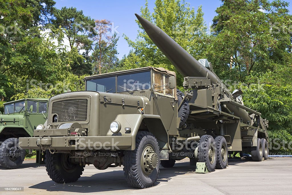The Pershing IA missile on military Vehicle Trailer stock photo