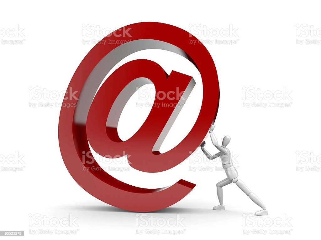 The person brings up a email sign royalty-free stock photo
