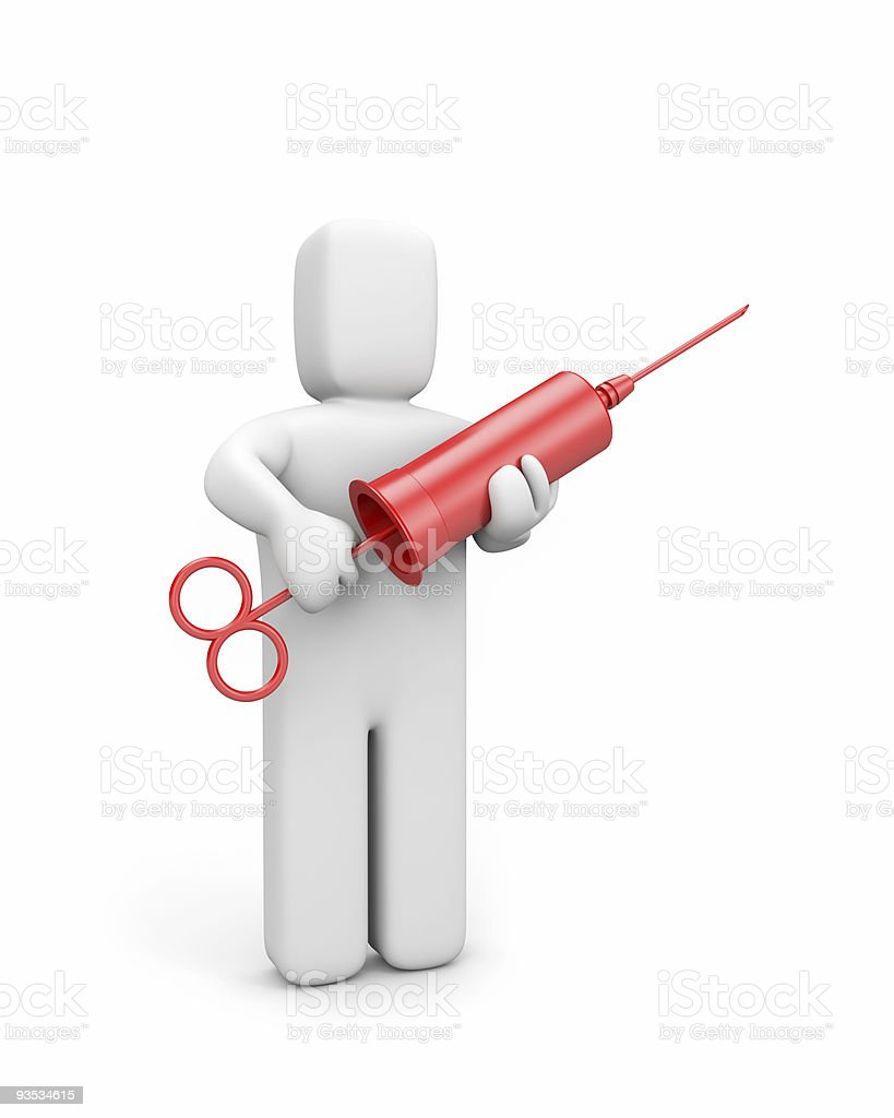 The person holds a syringe (retro style) royalty-free stock photo
