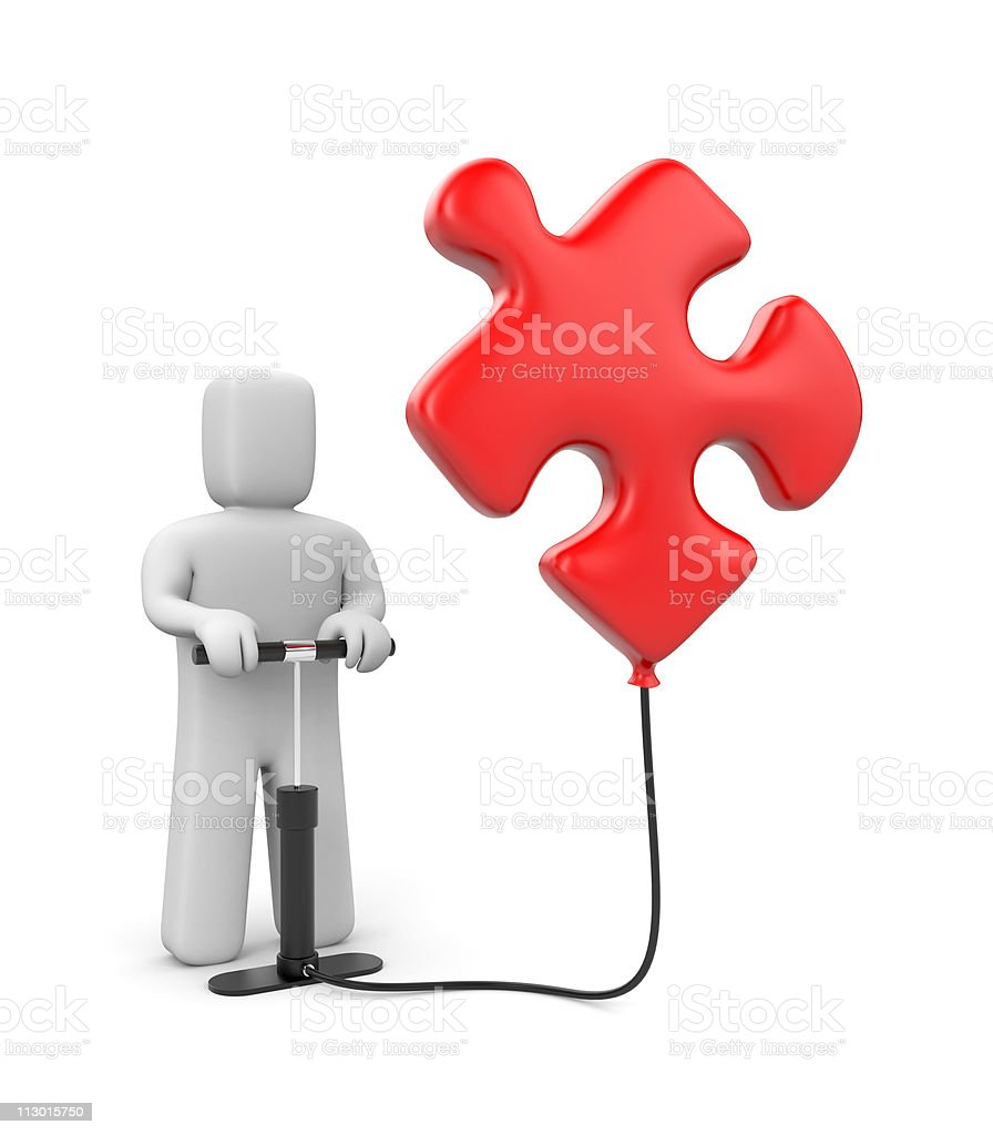 The person pumps up puzzle royalty-free stock photo