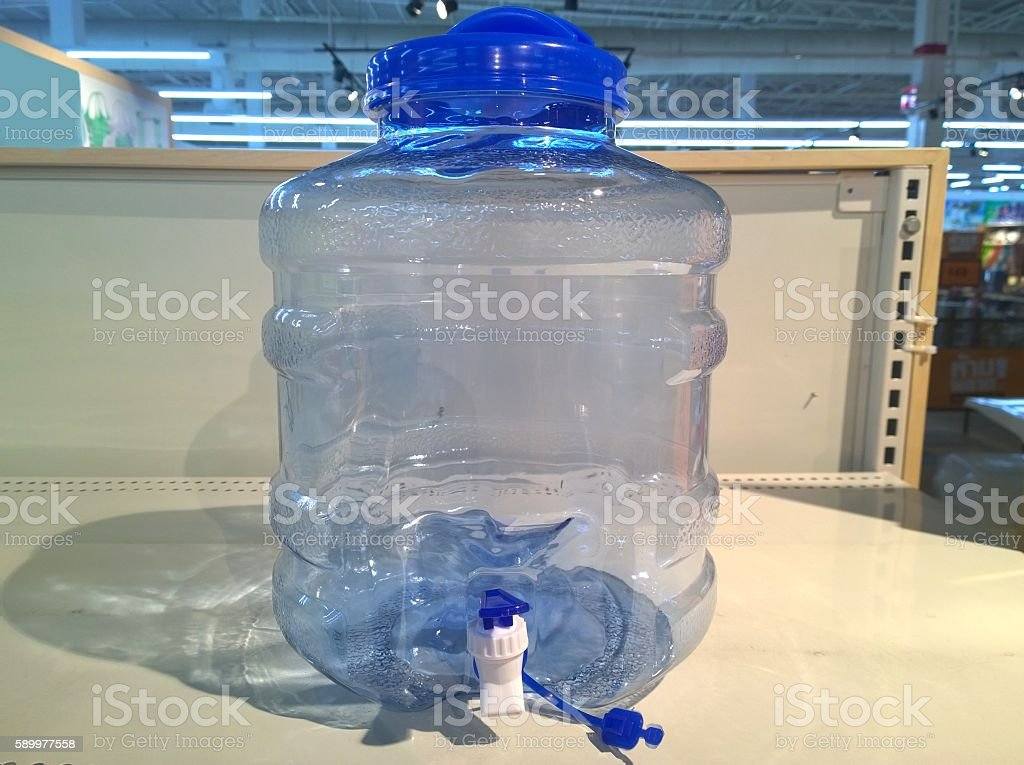 The pet water containner tap stock photo