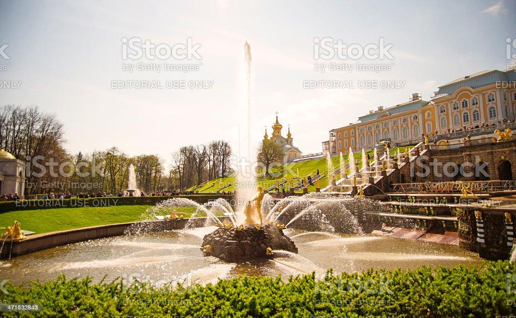 The Peterhof Palace Hercules's fountain stock photo