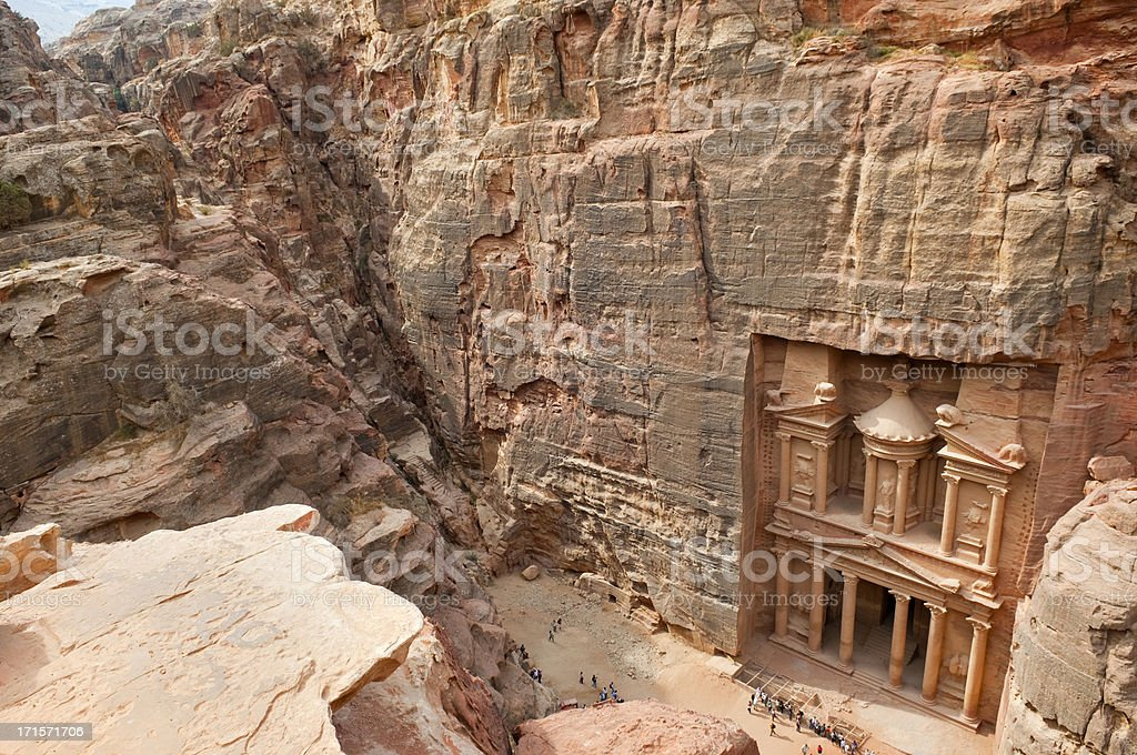 The Petra Treasury from above royalty-free stock photo