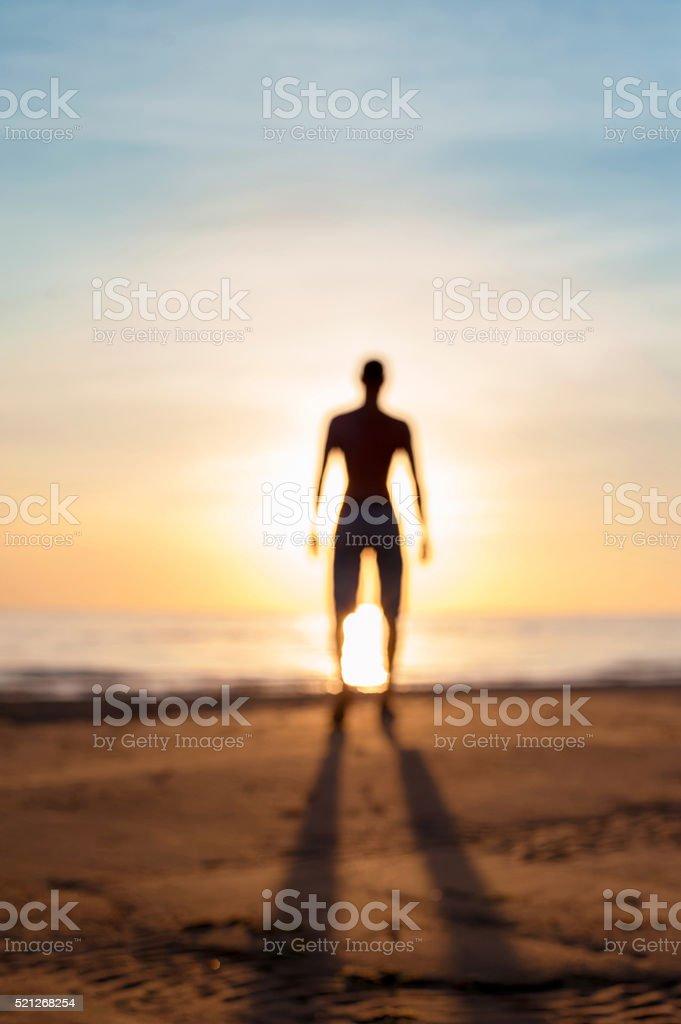 The Phenomenal creation. Defocused blurred man phantom silhouette stock photo