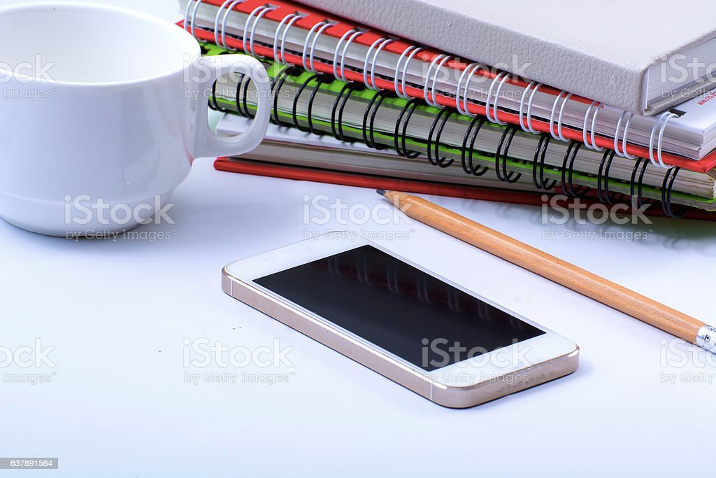 The phone on the desk stock photo