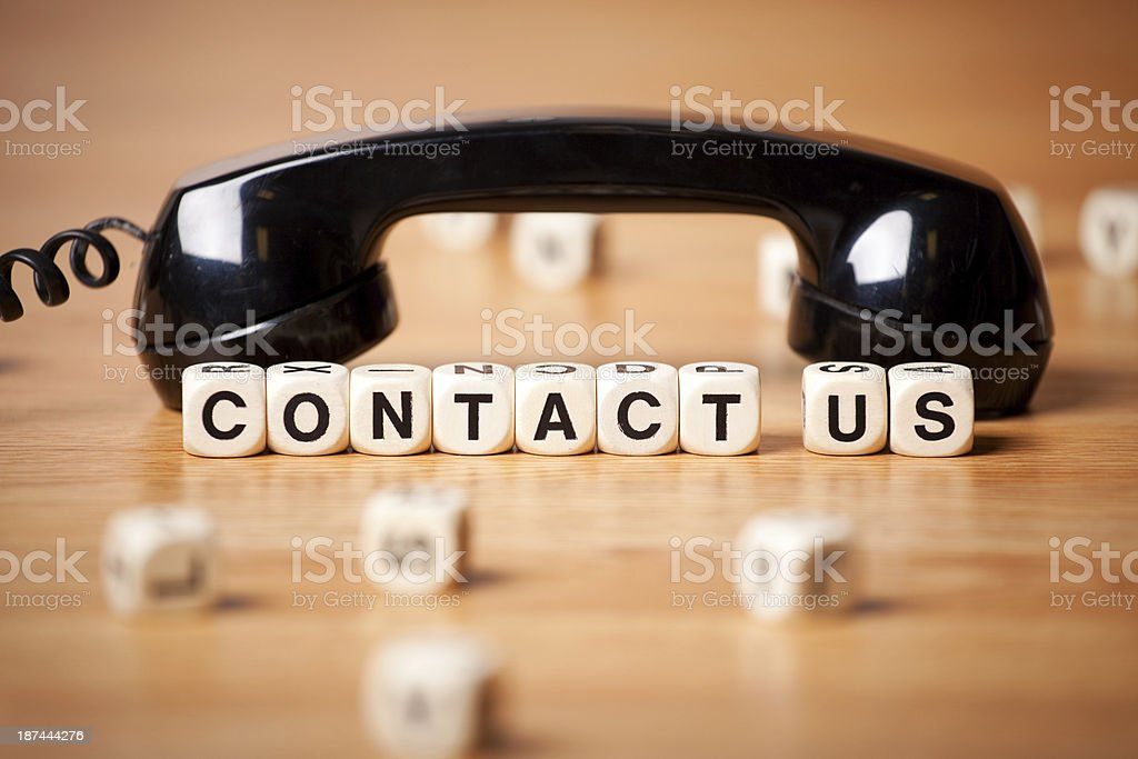 The Phrase Contact Us By An Old Fashioned Telephone Headset royalty-free stock photo