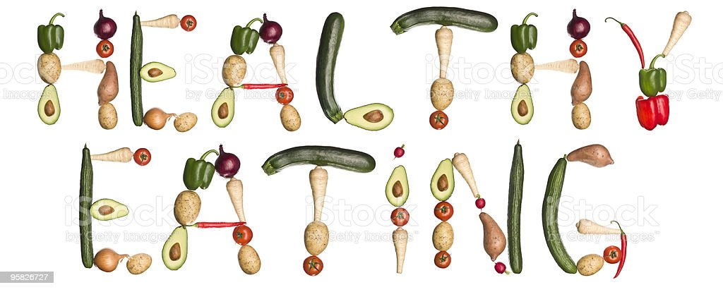 The phrase ''Healthy eating' made of vegetables royalty-free stock photo