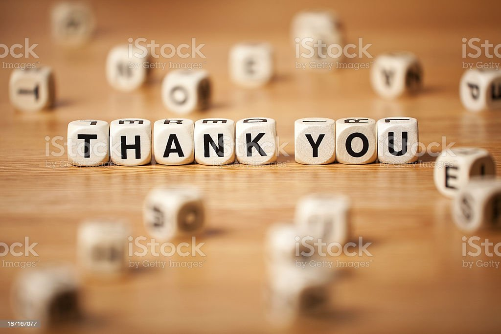 The Phrase THANK YOU Spelled In Letter Cubes royalty-free stock photo