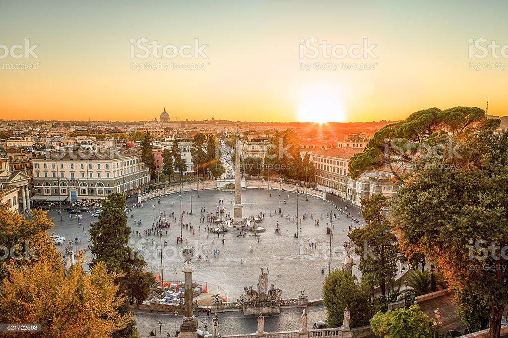 The Piazza del Popolo, Rome at sunset stock photo