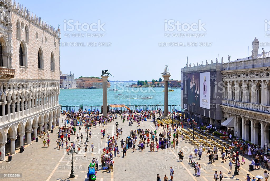 The Piazzetta San Marco, view from Saint Mark's Basilica. stock photo