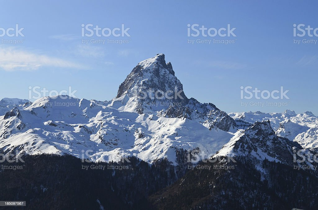 The pic du Midi d'Ossau in French Pyrenees. stock photo