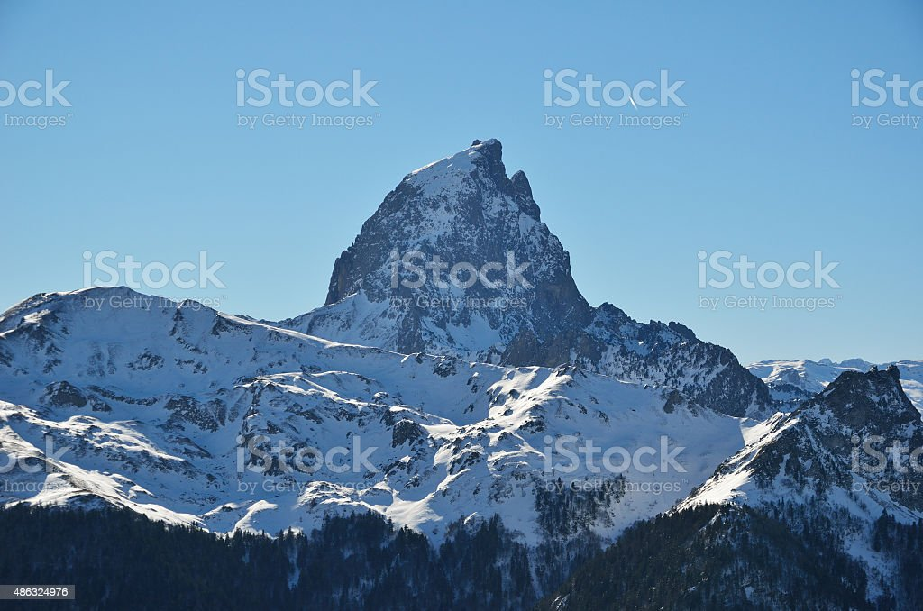 The pic du Midi d'Ossau in the French Pyrenees stock photo