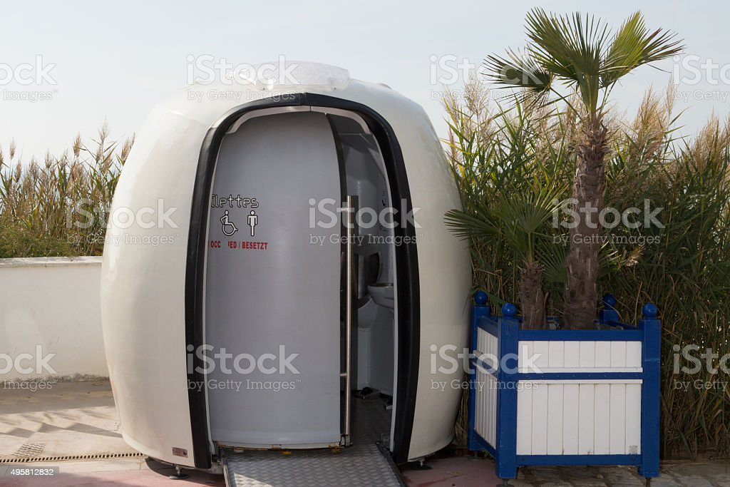 The Picture of the portable white toilets stock photo