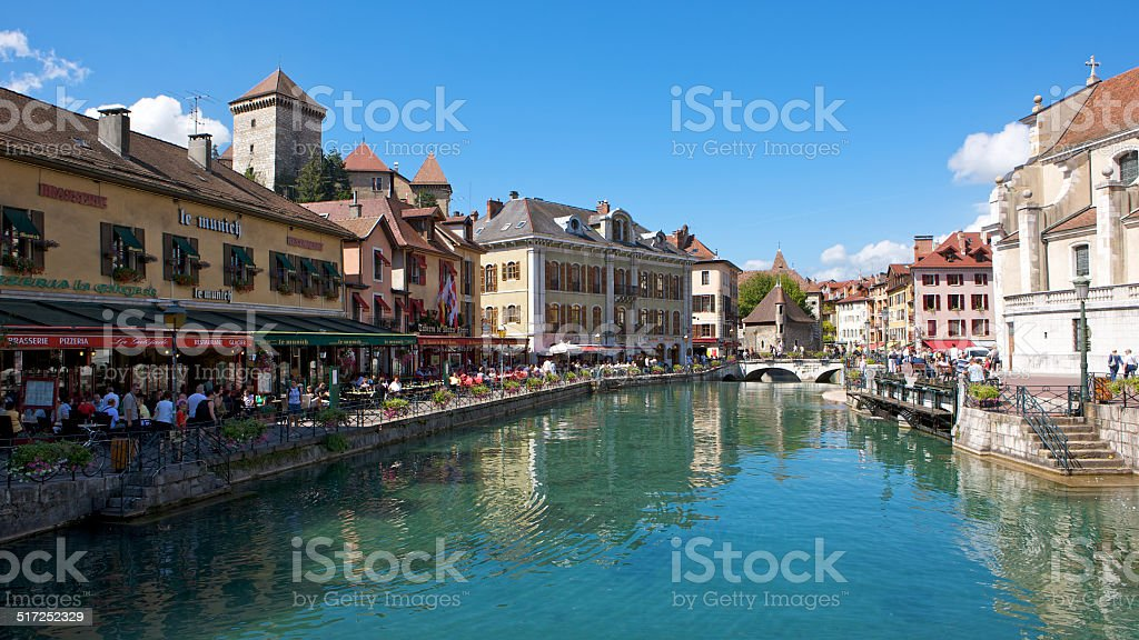 The picturesque French town of Annecy in Summer stock photo
