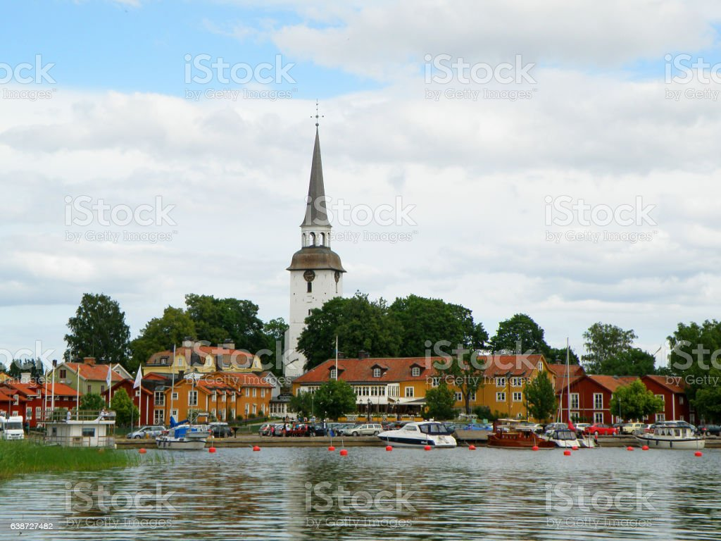 The picturesque Mariefred town with Karnbo church by lake Malaren stock photo