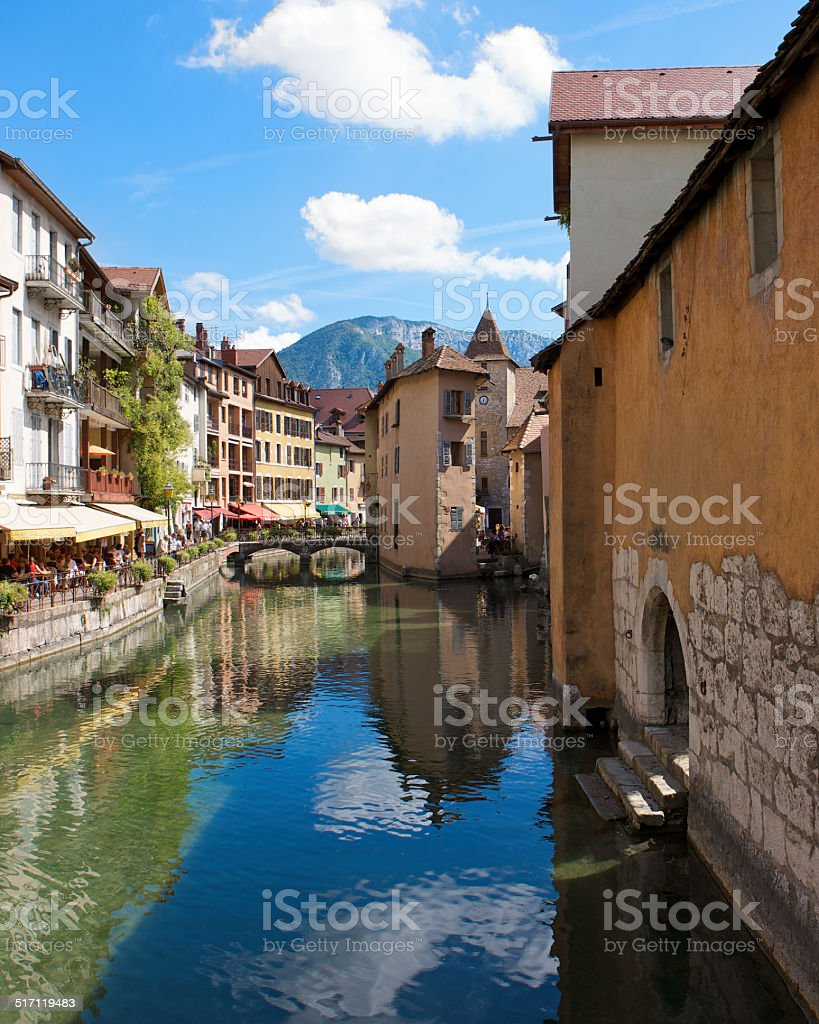The picturesque town of Annecy, France on a summer's day stock photo