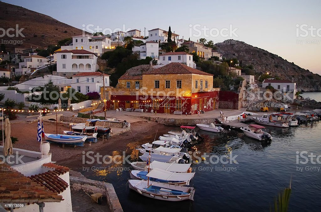 The picturesque village of Hydra island, Greece stock photo