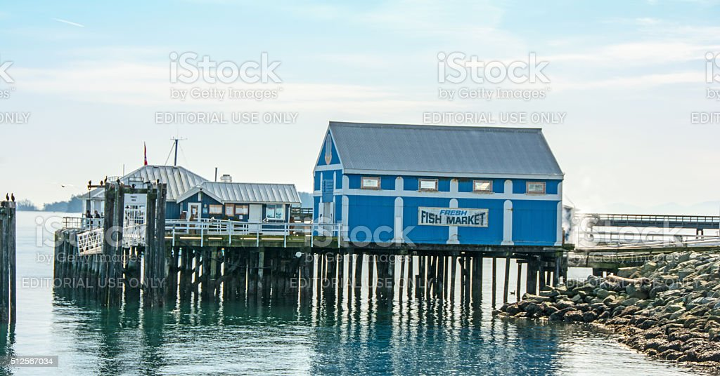 The pier and waterfront in Sidney British Columbia stock photo
