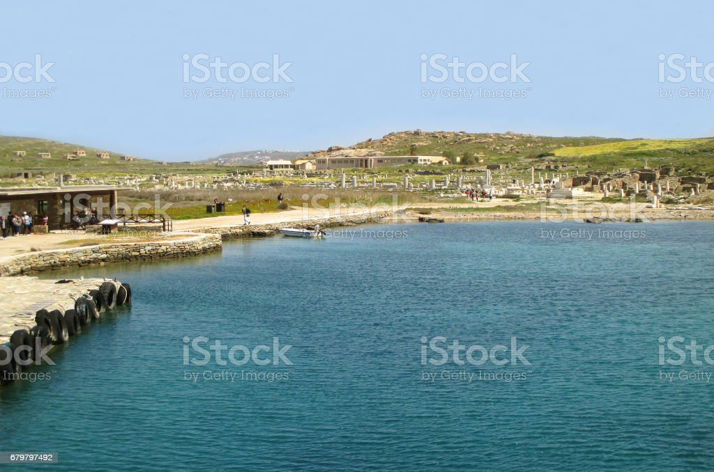 The Pier Leads to the Archaeological Site of Delos on Delos Island stock photo