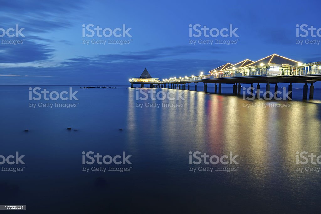 The pier of Heringsdorf at dawn stock photo