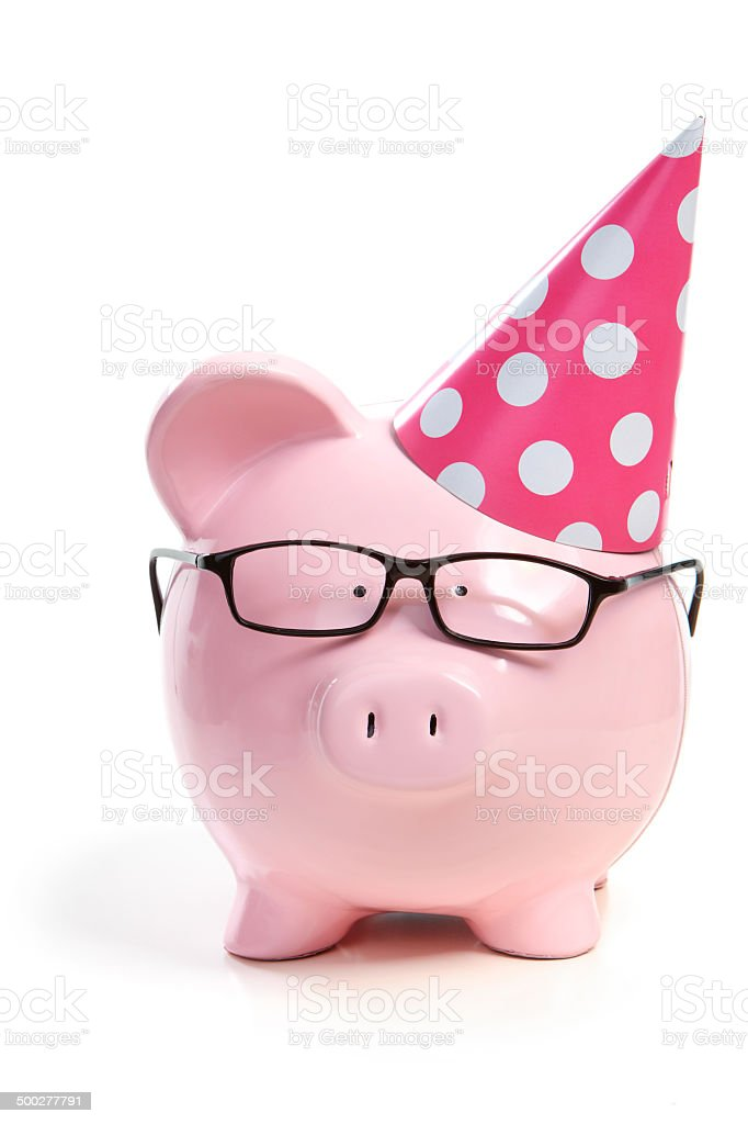 The pig in a red cap stock photo