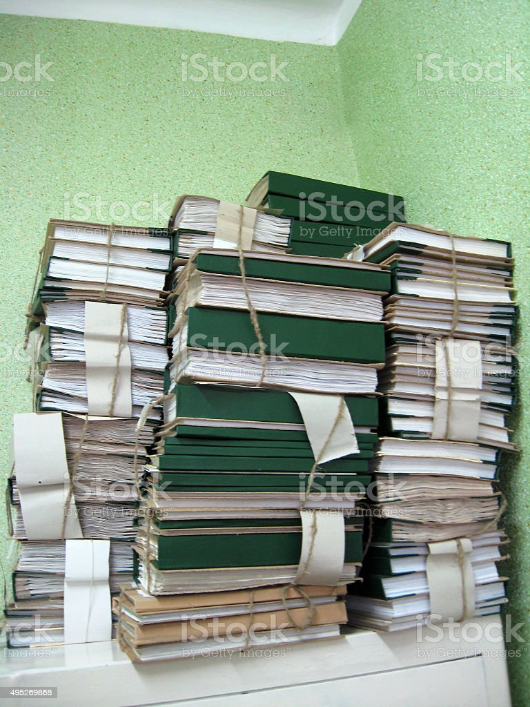the pile of archive papers stock photo