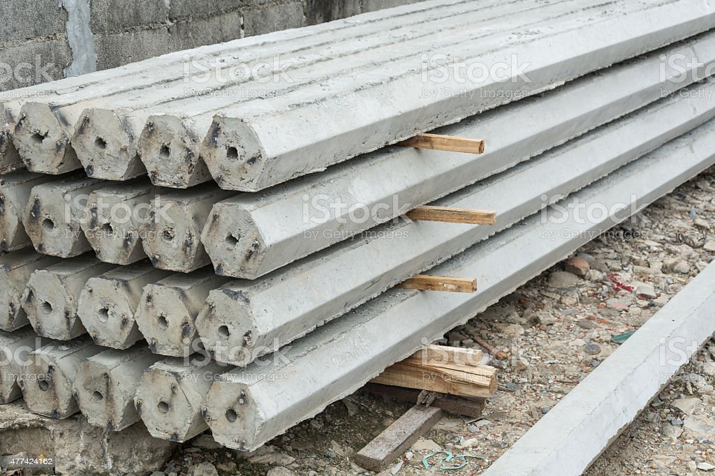 The pile of hexagon concrete foundation piles. stock photo