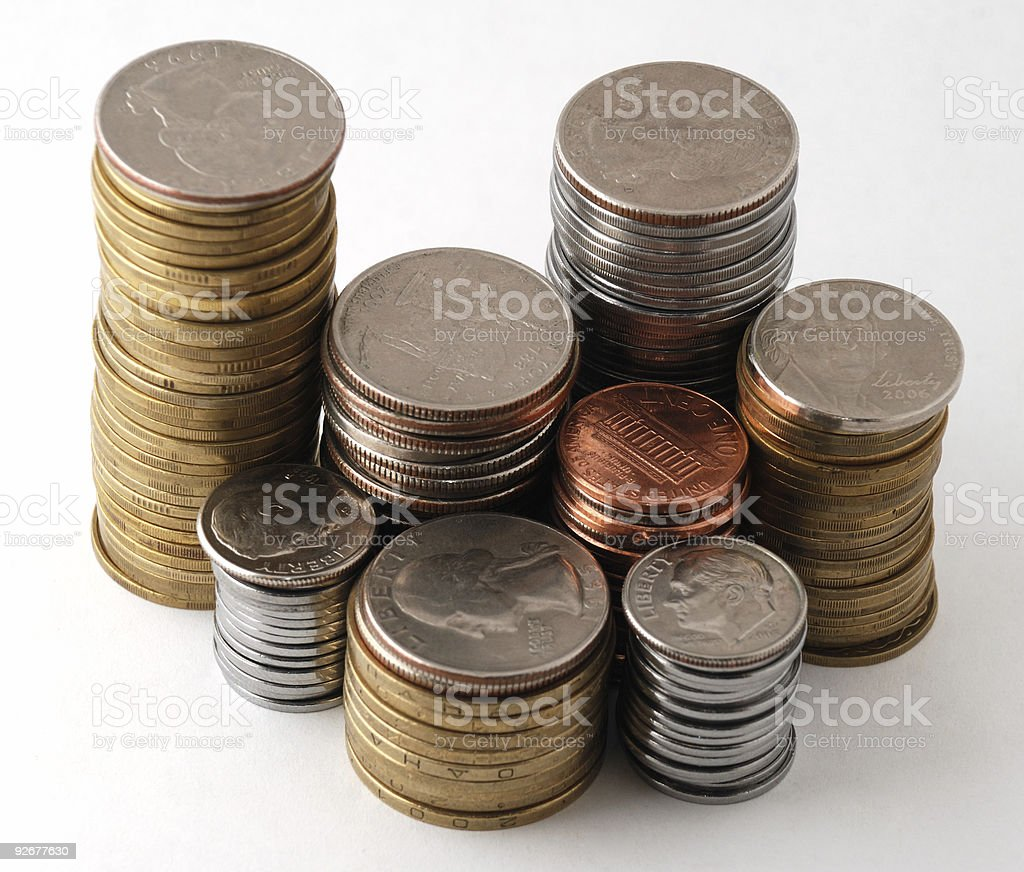 The piles of coins stock photo
