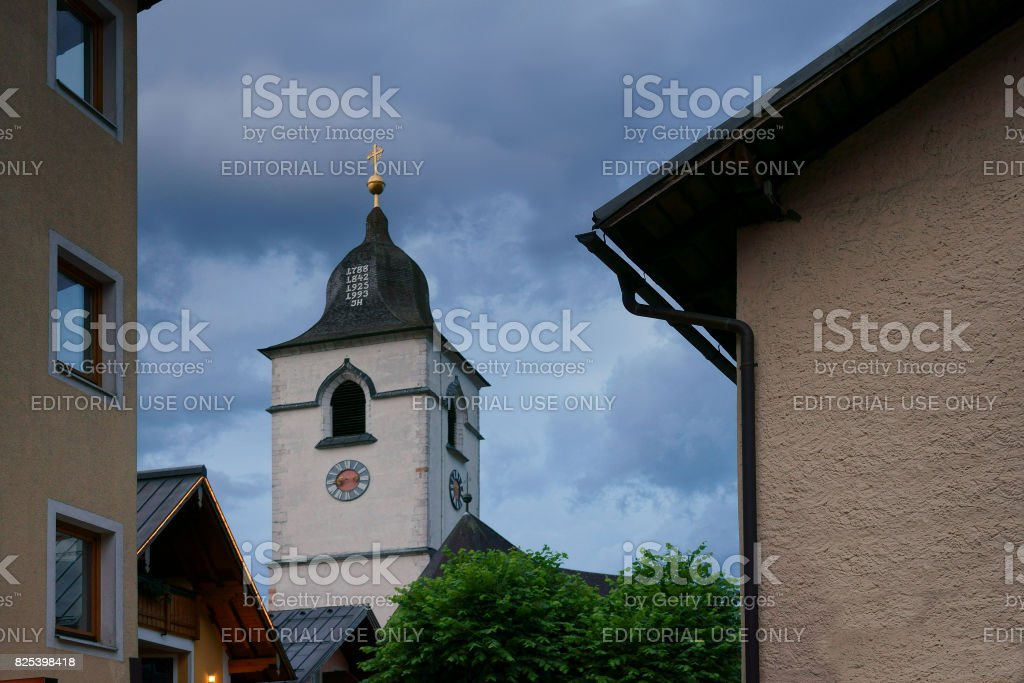 The Pilgrimage Church Of St. Wolfgang during blue hour in Austria stock photo
