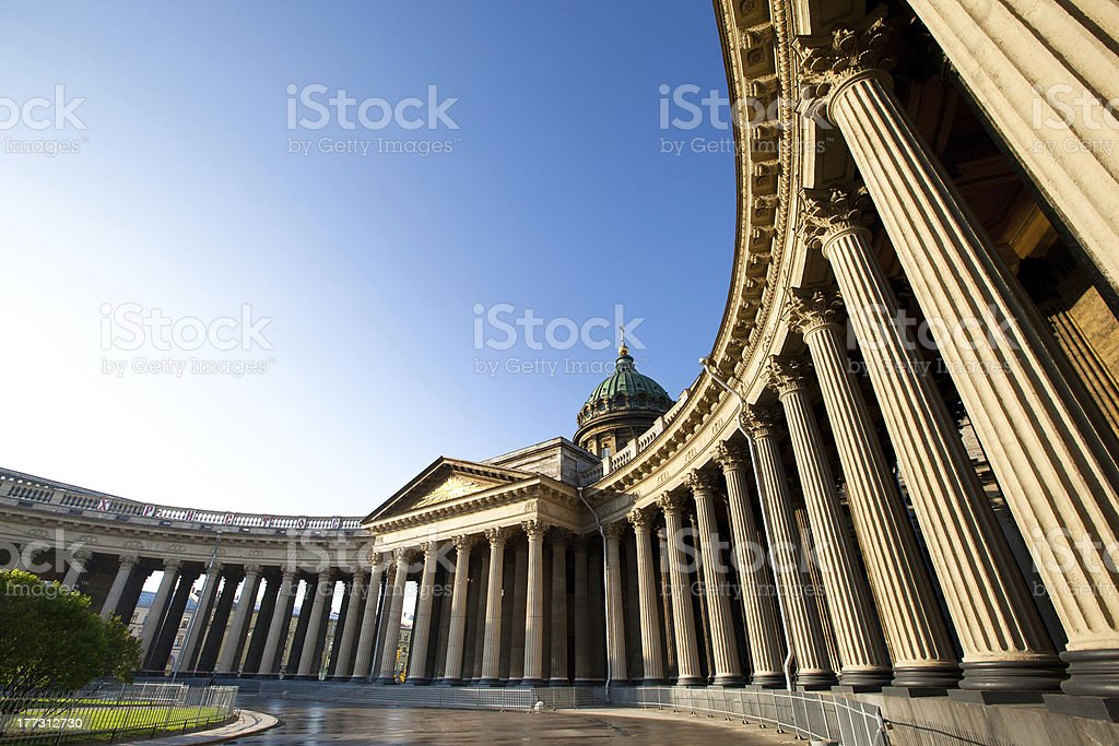 The pillars of Kazan Cathedral in St. Petersburg, Russia stock photo