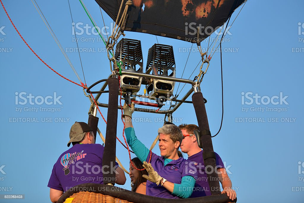 The pilot secures a burner stock photo