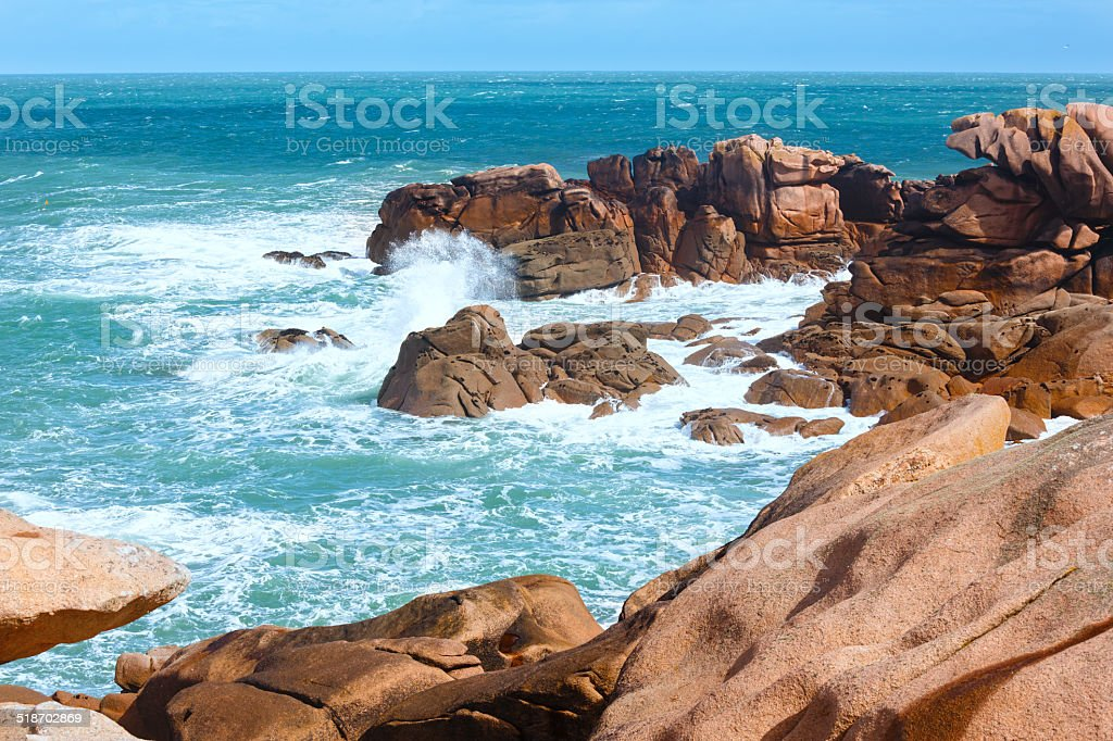 The Pink Granite Coast (Brittany, France). stock photo
