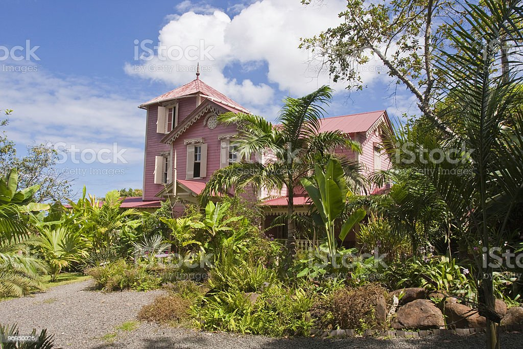 The Pink Plantation House stock photo
