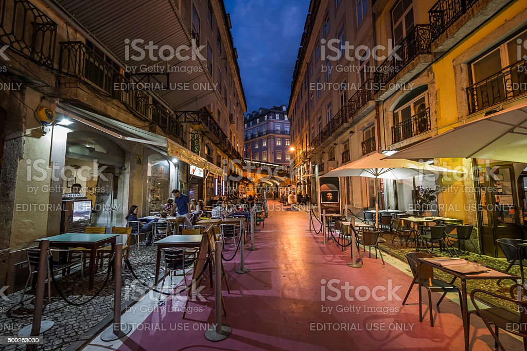 The Pink Street, Lisbon, Portugal stock photo