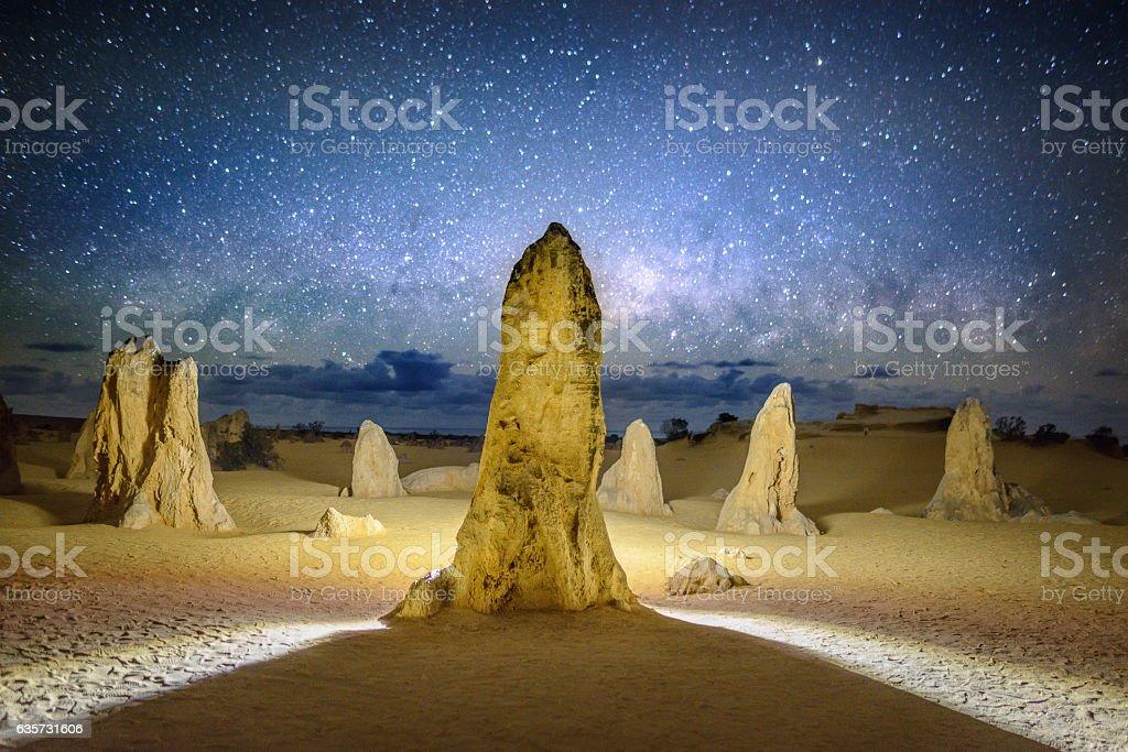 The Pinnacles at night stock photo