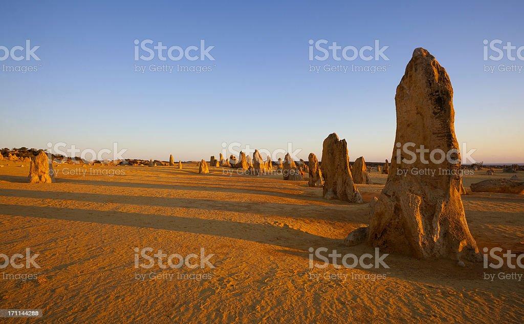 The Pinnacles Desert At Sunset stock photo