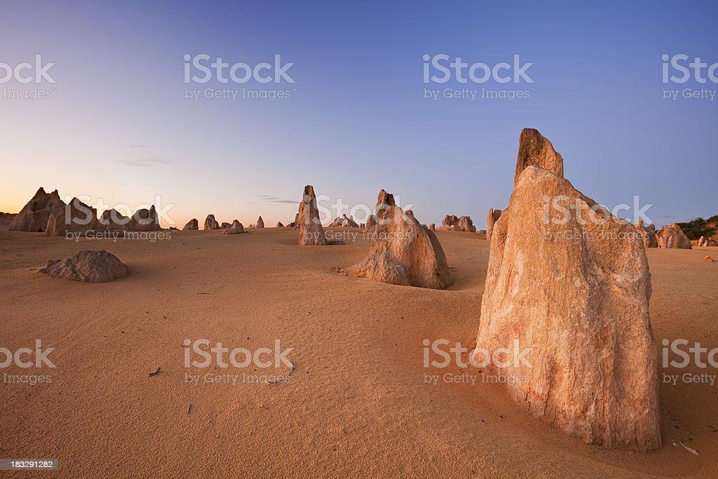 The Pinnacles Desert, Nambung National Park, Australia at dusk stock photo