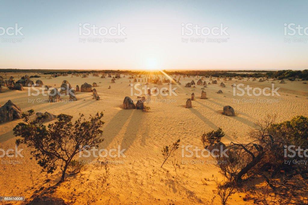 The Pinnacles rocks at sunset stock photo